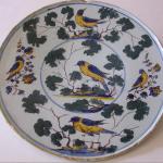 """piatto decorazione """"uccelli e prezzemolo sec. XVIII"""